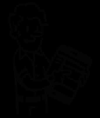 cartoon figure of a man holding a tablet
