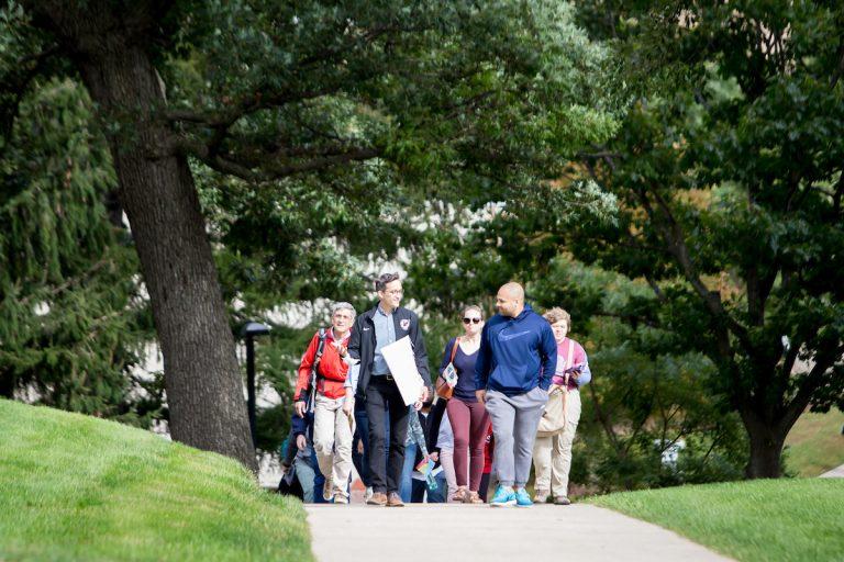 Omar Polar leading a group on a UW-Madison First Nations Cultural Landscape Tour